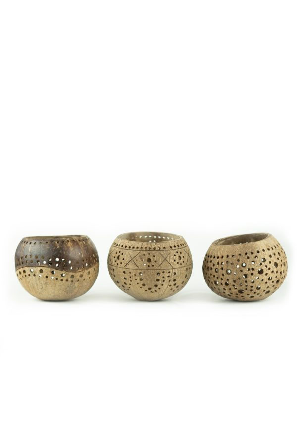 set of three handcrafted coconut bowls